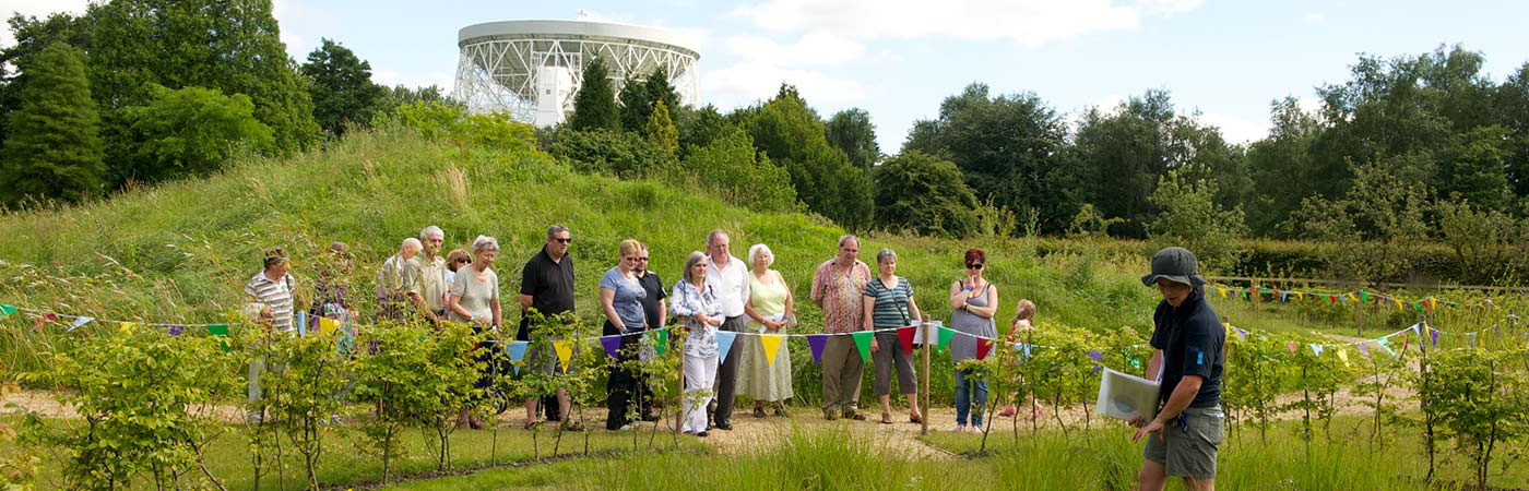 Visitors in the gardens of Jodrell Bank